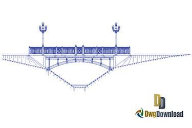 Bridge With Street Lights Dwg Download
