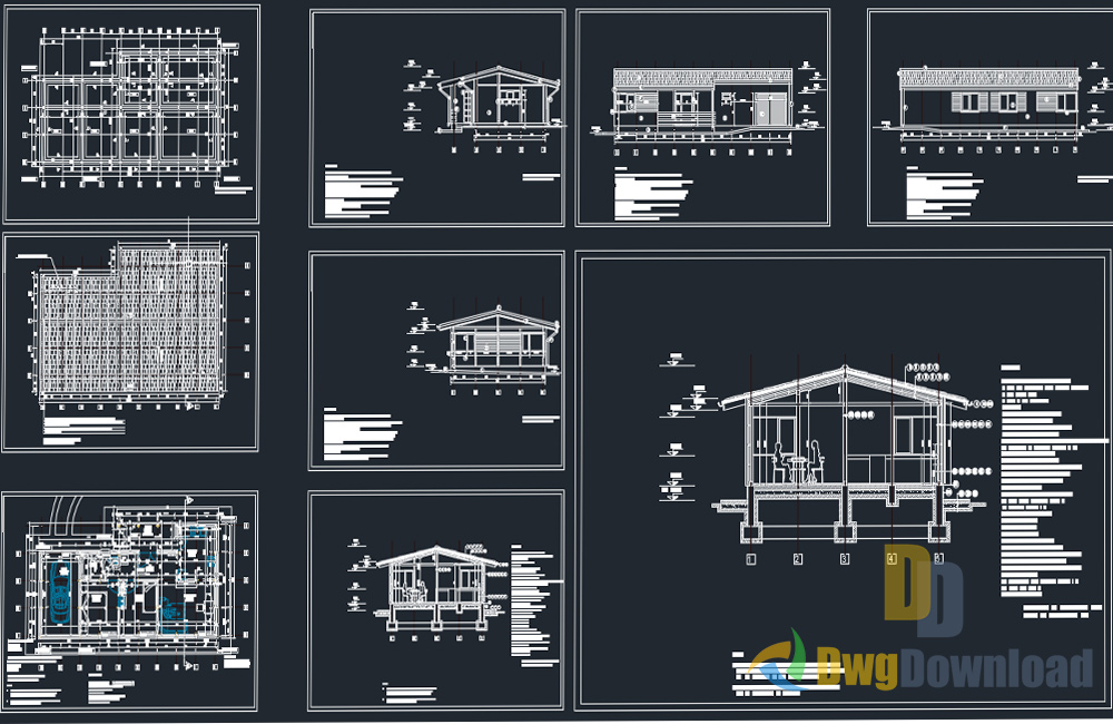 Bungalow house detailed drawing dwg download dwgdownload com for Home drawing software free download
