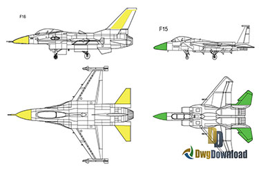 F15 F16 Fighter Dwg Download