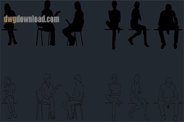 People Sitting Cads Blocks Dwg Download