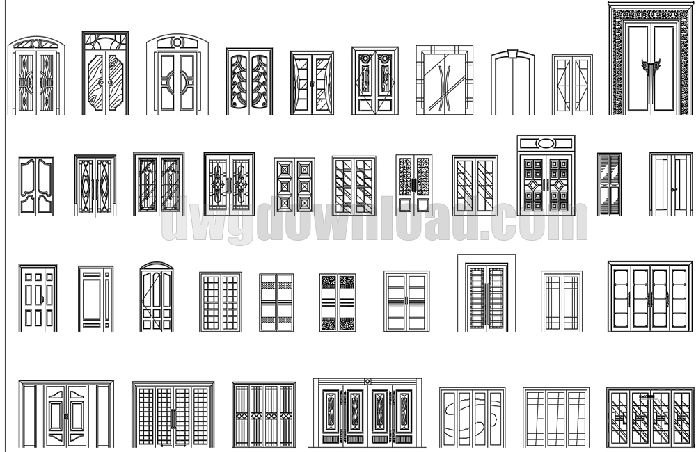 Front Elevation Cad Block : Double and large doors elevation cad blocks dwgdownload