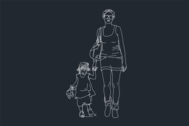 Mother And Child Human Figure Dwg Download