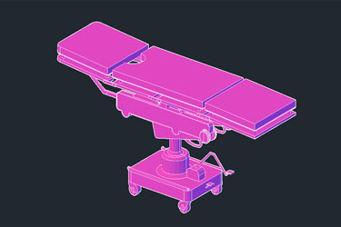 Medical Table Stretcher 3D Dwg Download