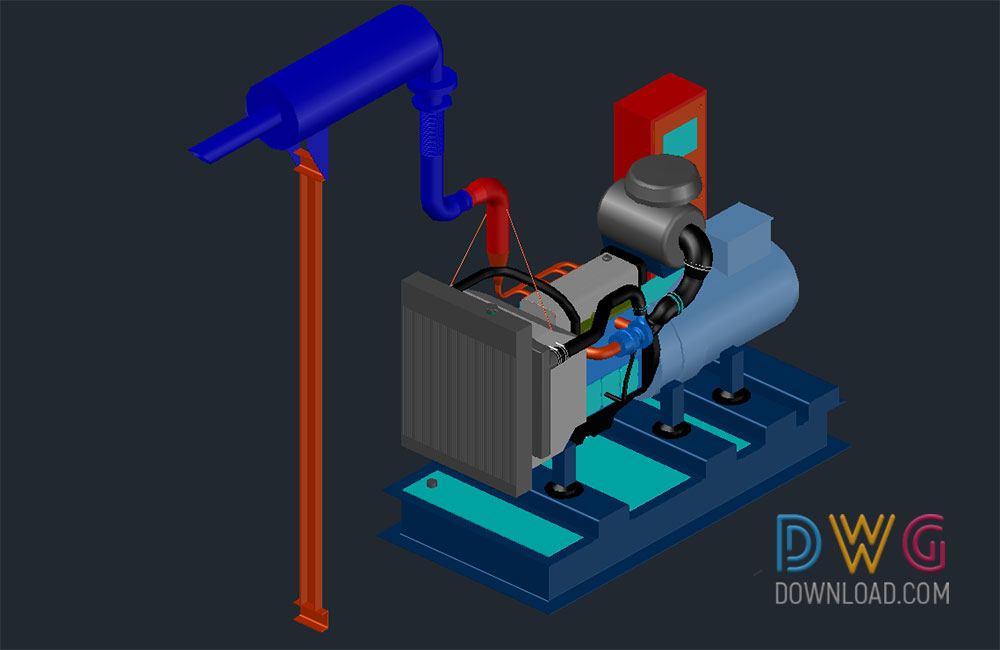 Genarator 150kva 3d dwg download dwgdownload com for 3d art maker online
