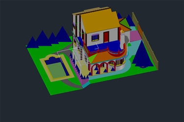 Villa With Pool 3D Dwg Download