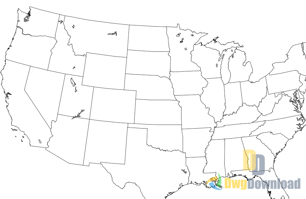 America United States Map Dwg Download DwgDownloadCom