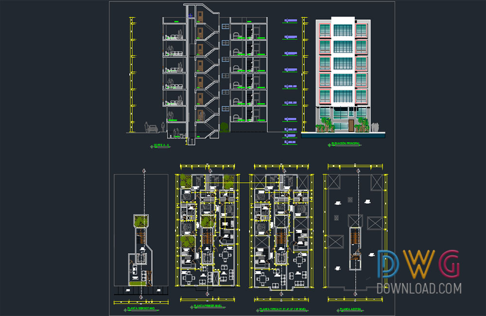 apartment detail dwg, building dwg, apartment cad projects, architectural detail dwg about  categories of architecture,building-house