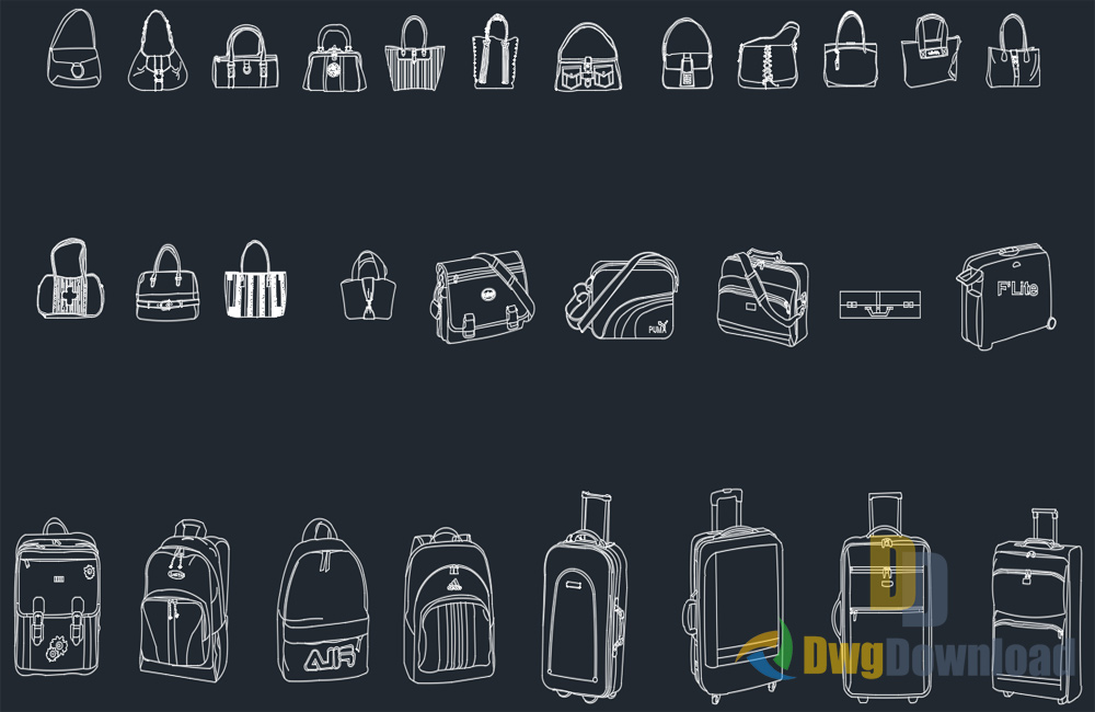 Bags Cads Blocks Set Dwg Download » DwgDownload Com