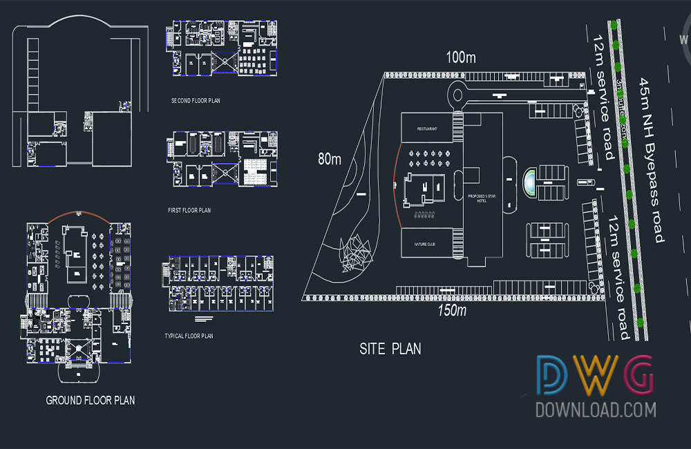 5 Star Hotel Cad Project 187 Dwgdownload Com