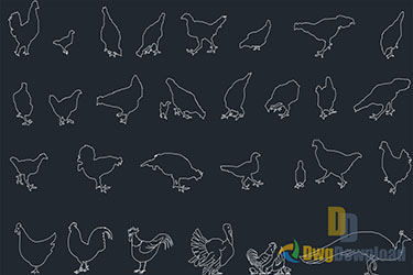 Birds Cads Blocks Set Dwg Download