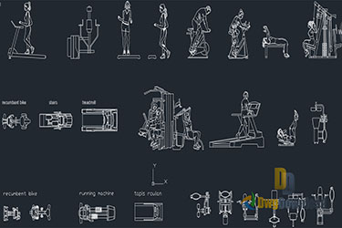 Gym Sports Equipment Cad Blocks Dwg Download