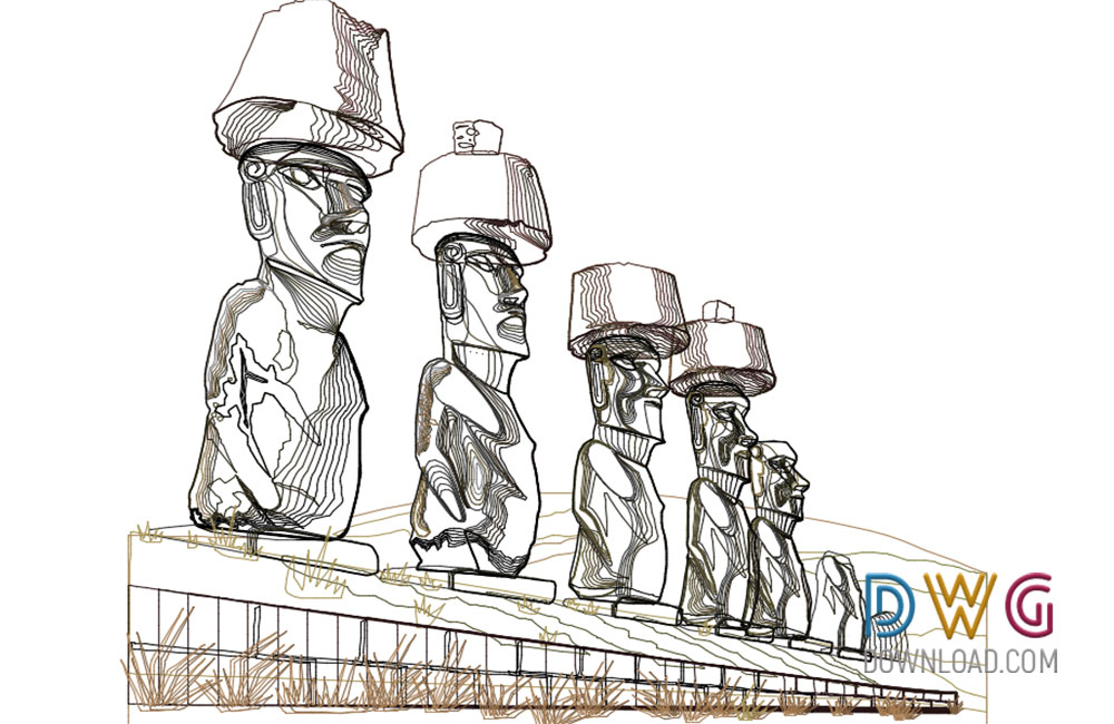 easter island dwg, historical museum dwg, symbol dwg about  categories of miscellaneous