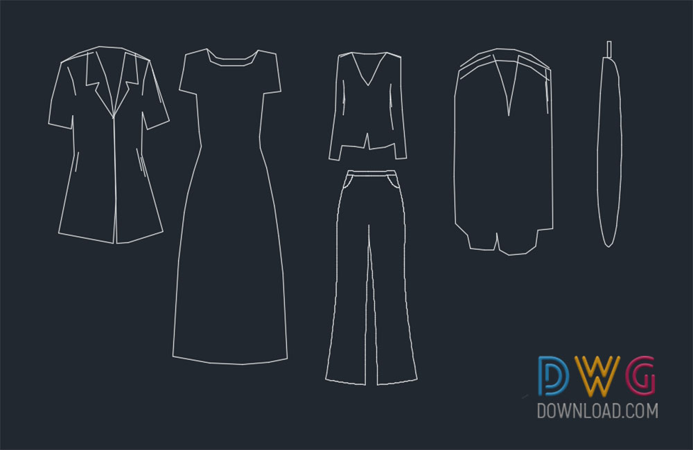 dress cad blocks, cad blocks, clothes dwg about  categories of cad-blocks