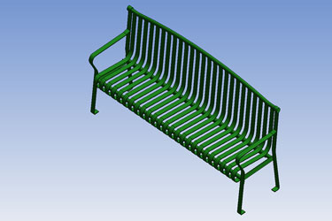 Park Bench Archback Metal Revit 3D Model