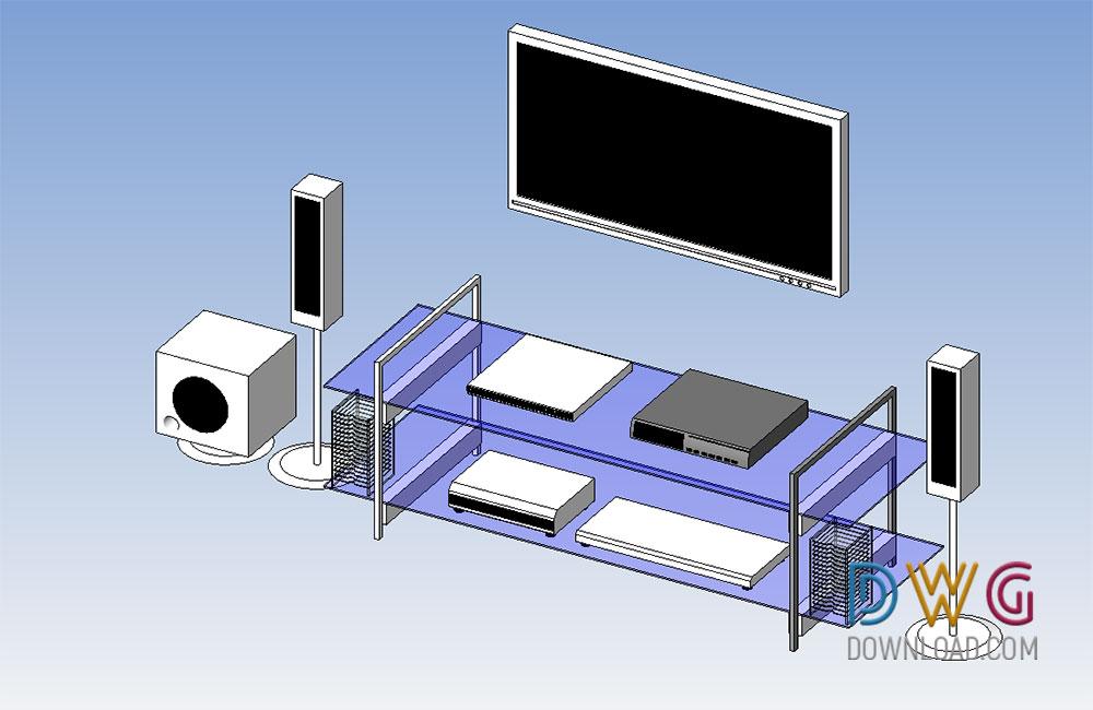 Home Theatre System Revit 3d Model Dwgdownload Com