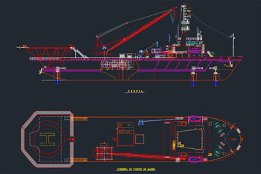 Crane Boat Dwg Drawing