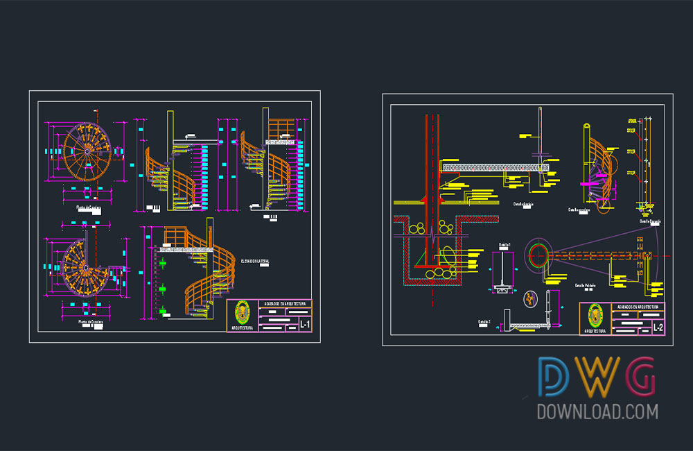 Spiral staircase details dwg dwgdownload com for Spiral staircase dwg
