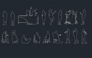 People Silhouettes Music Cad Blocks