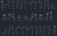 People Silhouettes Dancing Cad Blocks