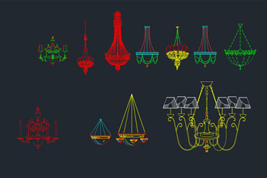 Chandelier Module Cad Blocks