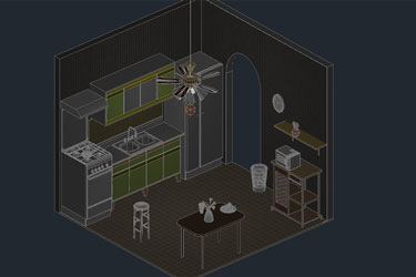 Kitchen 3D Dwg With Room