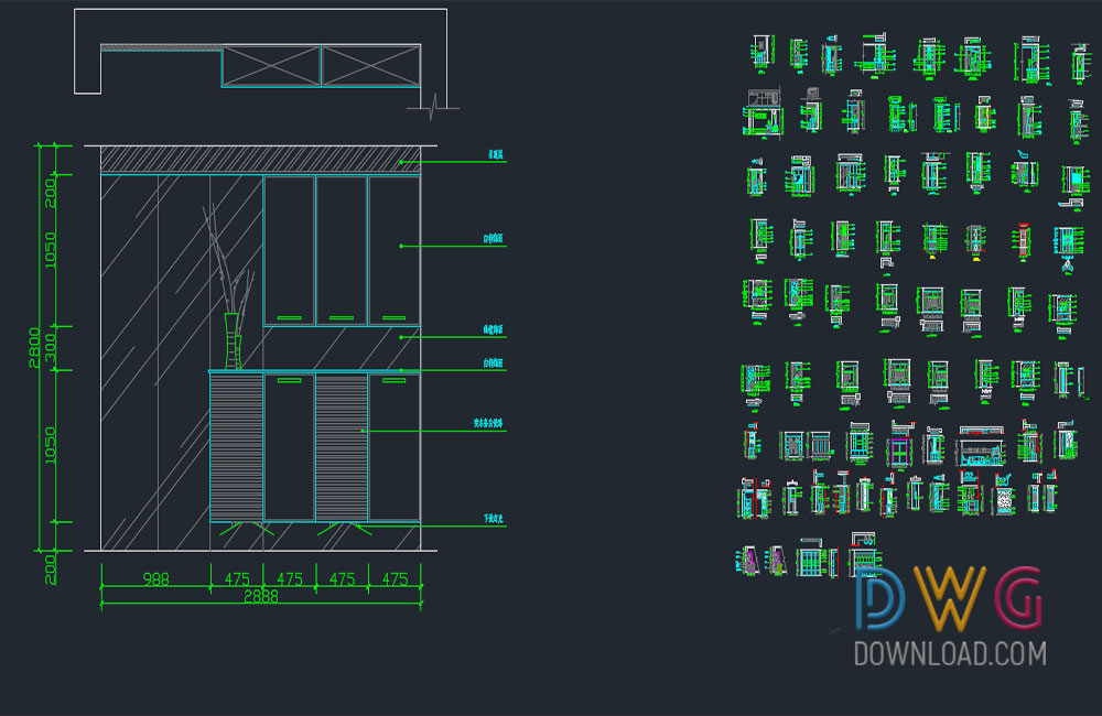 Shoes Cabinet Autocad Blocks » DwgDownload Com
