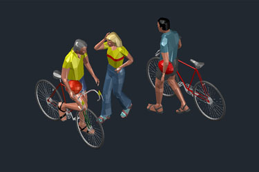 Cycling People 3D Models Cad Blocks
