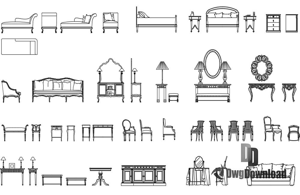 Classic furniture cads blocks dwg download dwgdownload com for Outdoor furniture 2d cad blocks