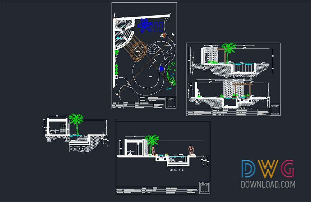 Pool And Jacuzzi Detail Drawing Dwgdownload Com