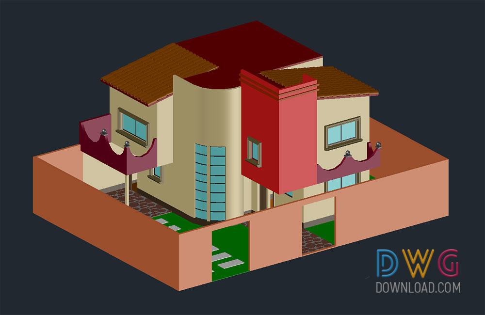 3d bungalow dwg, bungalow, bungalow dwg, building dwg, architectural detail dwg, 3D dwg drawing about  categories of 3D-Model,architecture,building-house