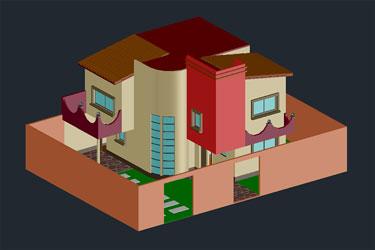 3D Modern Bungalow Dwg File
