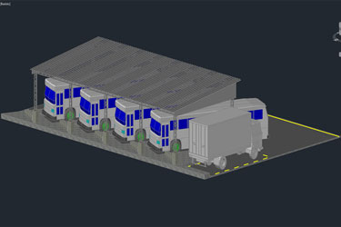 3D Bus Stand Dwg File