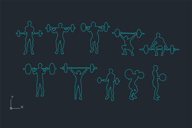 People Silhouettes Weightlifters
