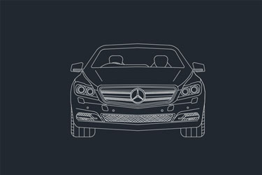 Mercedes Benz Car 2D Drawing