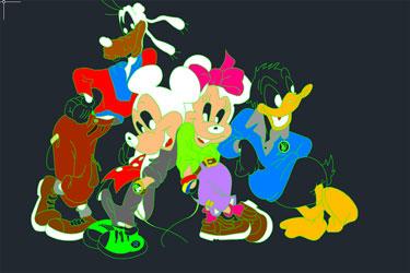 Disney Cartoons Dwg Drawings