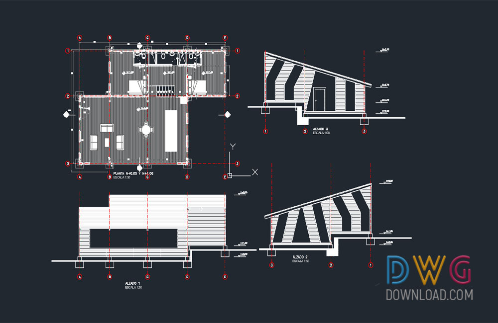 house detail dwg, family house dwg, building dwg about  categories of architecture,building-house