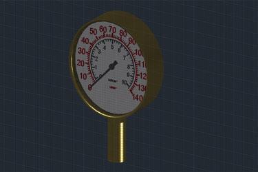 Pressure Gauge 3D Dwg