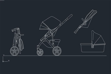 Baby Stroller Autocad Drawing