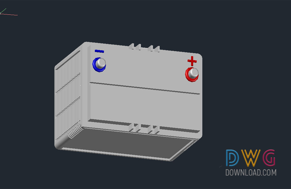 battery dwg, 3d battery dwg, 3D dwg drawing, car battery about  categories of 3D-Model,electrical,vehicles