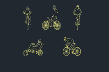 People Cyclists Cad Blocks Dwg