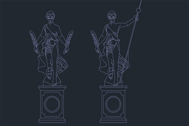 Twin Sculpture Dwg Drawing