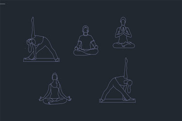 Person Yoga Dwg Cad Blocks