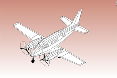 Dual Prop Plane Revit 3D Model