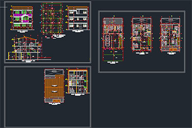 3 Level Detached House Dwg File