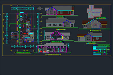 Single Level House Project Free Dwg