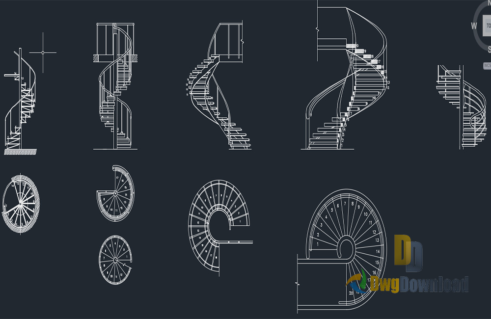 Spiral staircase dwg download dwgdownload com Spiral stair cad