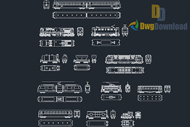 Railways Vehicles Cad Blocks Dwg Download
