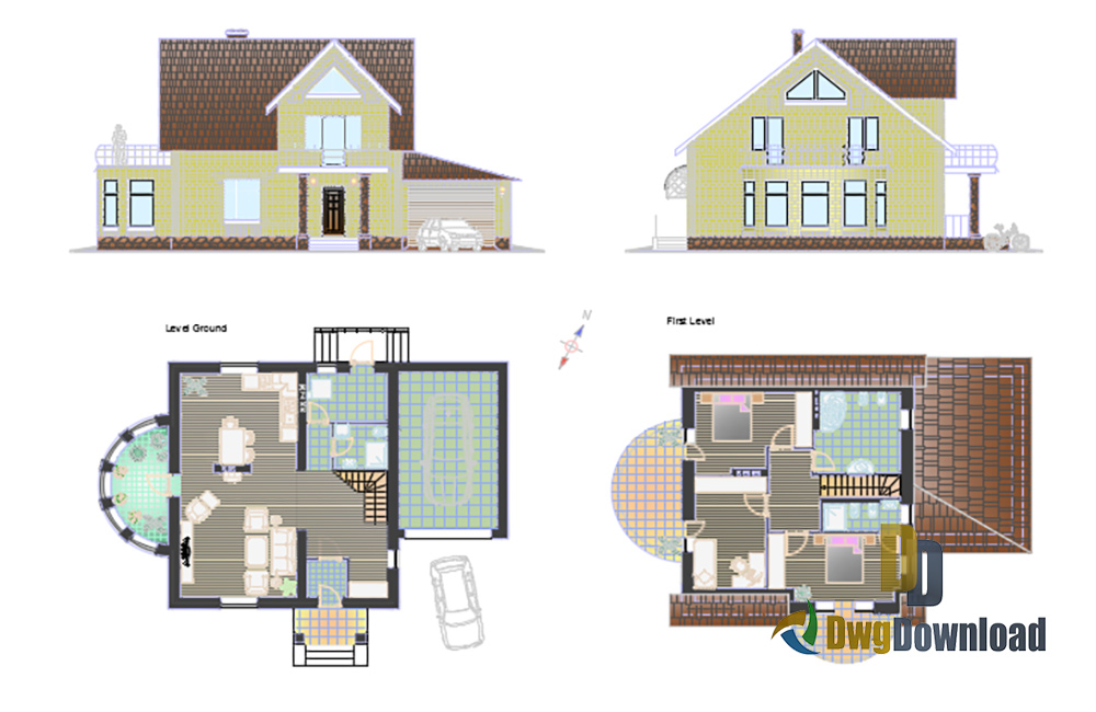 family house dwg, small family house dwg, house detail dwg about  categories of architecture,building-house